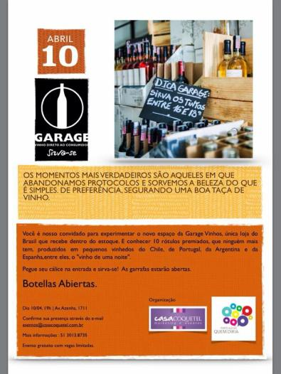 Reabertura da Garage na Azenha será oportunidade para degustar vinhos da loja
